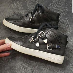 Leather Michael Kors high top buckle sneakers